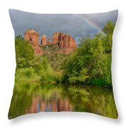 Cathedral Rock Rainbow Throw Pillow