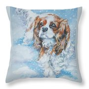 Cavalier King Charles Spaniel Blenheim In Snow Throw Pillow by Lee Ann Shepard