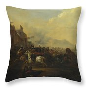 Cavalry Attacking A Fortified Place Throw Pillow