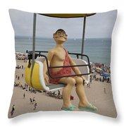 Caveman Above Beach Santa Cruz Boardwalk Throw Pillow