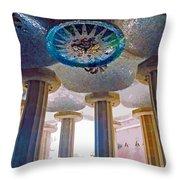 Ceiling Boss And Columns, Park Guell, Barcelona Throw Pillow