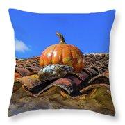 Ceramic Pumpkin On A Roof Throw Pillow