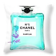 Chanel Perfume Turquoise Chanel Poster Chanel Print Throw Pillow