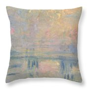 Charing Cross Bridge Throw Pillow by Claude Monet