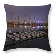 Charles River Boats Clear Water Reflection Throw Pillow