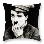 Charlie Chaplin, Vintage Actor And Comedian Throw Pillow