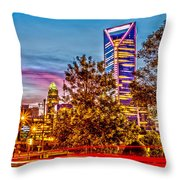Charlotte City Skyline Early Morning At Sunrise Throw Pillow