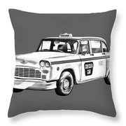 Checkered Taxi Cab Illustrastion Throw Pillow