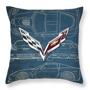 Chevrolet Corvette 3 D Badge Over Corvette C 6 Z R 1 Blueprint Throw Pillow