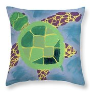 Chiaras Turtle Throw Pillow by Yshua The Painter