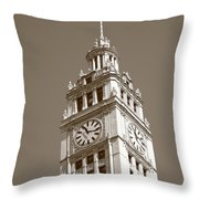 Chicago Clock Tower Throw Pillow