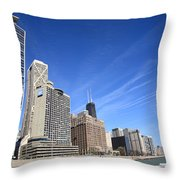 Chicago Skyline And Beach Throw Pillow