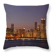 Chicago Skyline At Dusk Panorama Throw Pillow