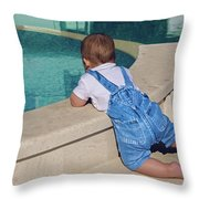 Child In A Denim Suit Sits Throw Pillow