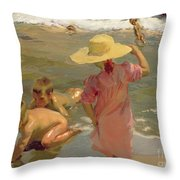 Children On The Seashore Throw Pillow by Joaquin Sorolla y Bastida