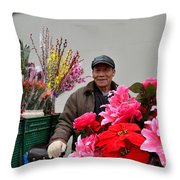 Chinese Bicycle Flower Vendor On Street Shanghai China Throw Pillow