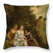 Chivalric Scene In A Park Throw Pillow