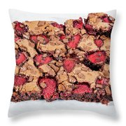 Chocolate Cake With Strawberry On Porcelain Plate Throw Pillow