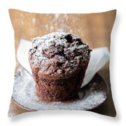 Chocolate Muffin With Powdered Sugar Throw Pillow