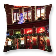 Christmas Decorations On The Buildings, Bruges City Throw Pillow