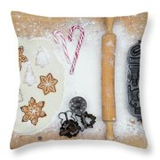 Christmas Interior With Sweets And Vintage Kitchen Tools Throw Pillow