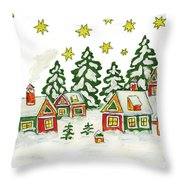 Christmas Picture In Green And Yellow Colours Throw Pillow