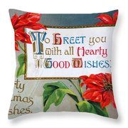 Christmas Postcard Throw Pillow