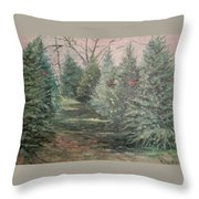 Christmas Tree Lot Throw Pillow by Rosemary Kavanagh