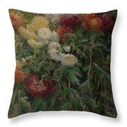 Chrysanthemums In The Garden At Petit-gennevilliers Throw Pillow