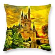Cinderella Castle - Van Gogh Style Throw Pillow