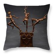 Citius Altius Fortius Olympic Art On Gray Throw Pillow