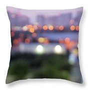 City Lights Bokeh Night Abstract Throw Pillow