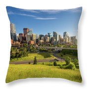 City Skyline Of Calgary, Canada Throw Pillow