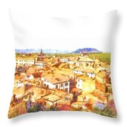Cityscape With Mountain Throw Pillow