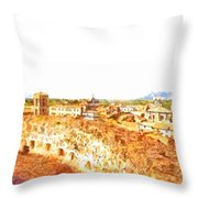 Cityscape With Wall And Mountain Throw Pillow