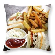 Classic Club Sandwich With Fries On Wooden Board Throw Pillow