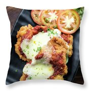 Classic  Italian Chicken Parmigiana With Cheese And Tomato Sauce Throw Pillow