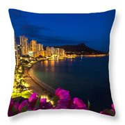Classic Waikiki Nightime Throw Pillow by Tomas del Amo - Printscapes