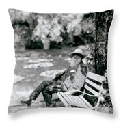 Claude Monet In His Garden Throw Pillow