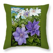 Clematis 2 Throw Pillow