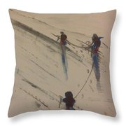 Three Climbers Throw Pillow by Gregory Dallum