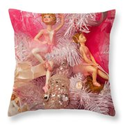 Close-up Of Toys On Christmas Tree Throw Pillow