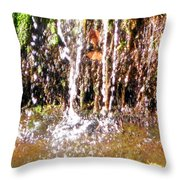 Close Up Of Waterfall Flowing Over Rocks  Throw Pillow