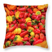 Close Up View Of Small Bell Peppers Of Various Colors Throw Pillow