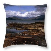 Cloud Passing Across The Cuillin Main Ridge And Bla Bheinn From Tokavaig Sleat Isle Of Skye Scotland Throw Pillow