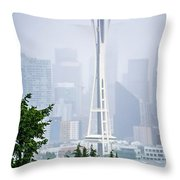 Cloudy And Foggy Day With Seattle Skyline Throw Pillow