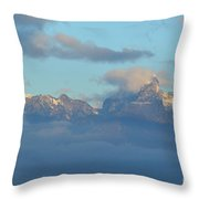 Cloudy Sky Surrounding The Dolomite Mountains In Italy  Throw Pillow