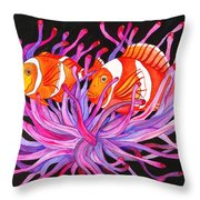 Clownfish And Sea Anenome  Throw Pillow