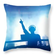 Club Dj Playing And Mixing Music For People Throw Pillow