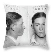Clyde Barrow Mugshot Throw Pillow